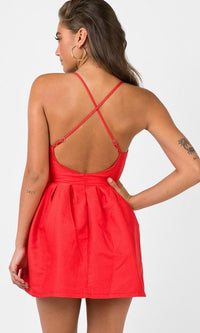 SEXY HALTER HOMECOMING PROM MINI DRESS in RED - Casual Dresses - Koogal.com.au