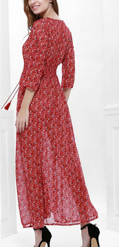 GODDESS OF THE SAND FLORAL MAXI DRESS