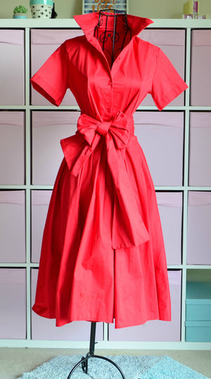 GRACE BUTTON UP MIDI DRESS in RED - DRESS - Koogal.com.au