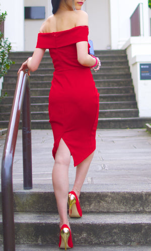 BELLE OFF THE SHOULDER RED BODYCON DRESS - DRESS - Koogal.com.au