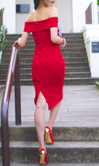 BELLE OFF THE SHOULDER BODYCON DRESS in RED