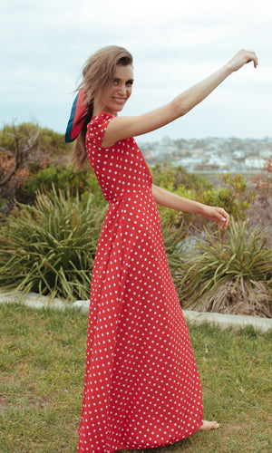 EOS MAXI FLOWY WRAP DRESS IN POLKA DOT - Koogal