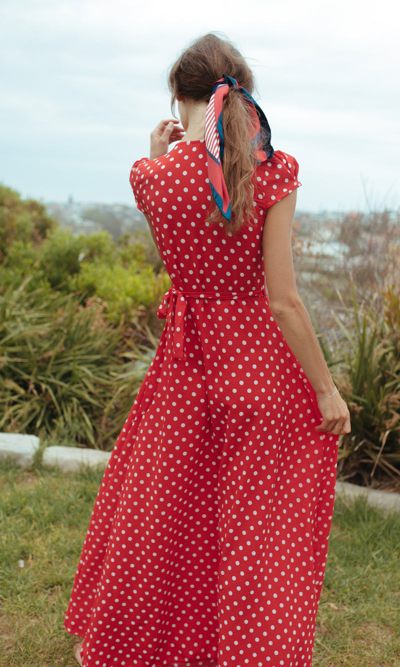 EOS MAXI FLOWY WRAP DRESS IN POLKA DOT - DRESS - Koogal.com.au