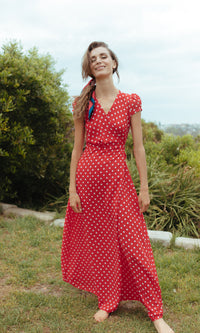 EOS MAXI FLOWY WRAP DRESS IN POLKA DOT