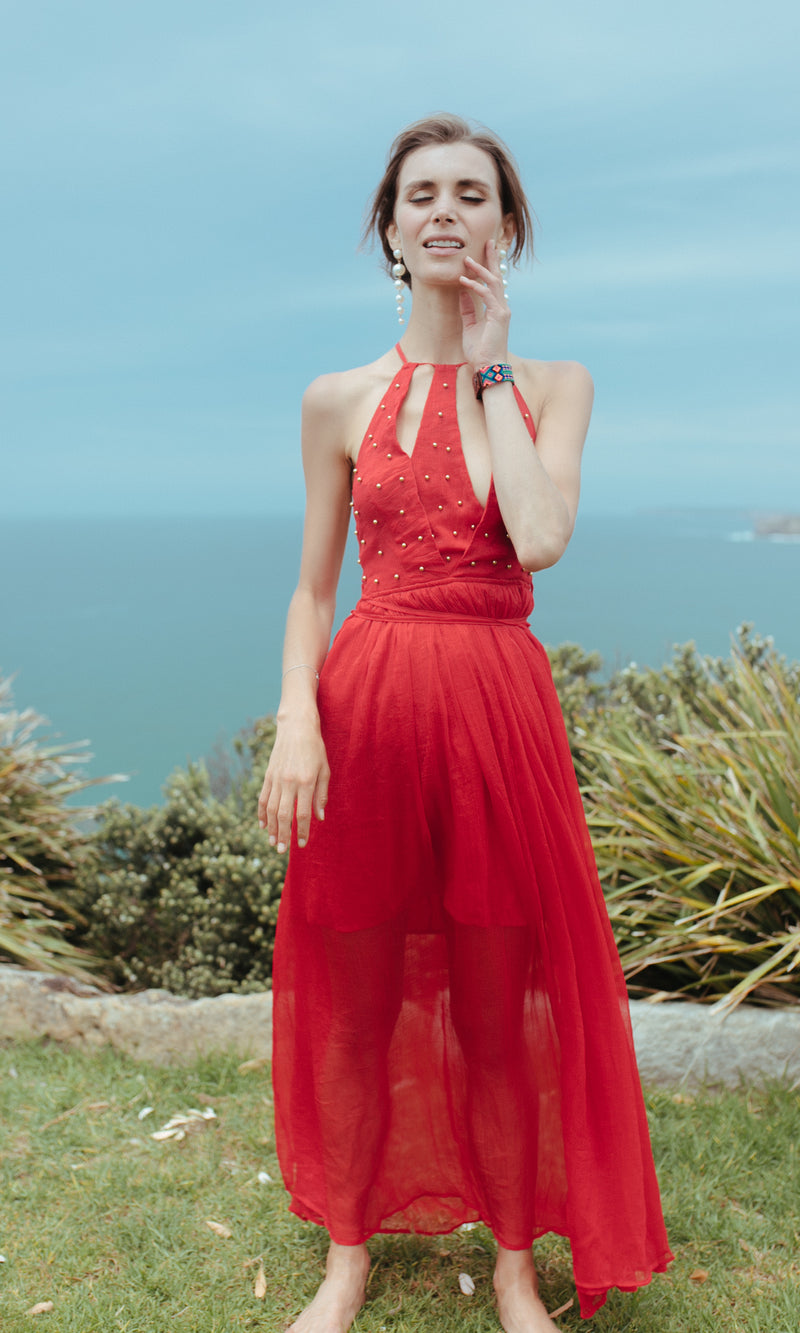 FLAME STUDDED BACKLESS MAXI BOHO BEACH PROM DRESS in RED - DRESS - Koogal.com.au