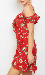 PIA FLORAL MINI WRAP DRESS IN RED
