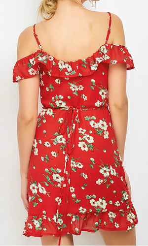 PIA FLORAL MINI WRAP DRESS IN RED - Koogal