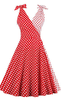 SUMMER FLING GLAMOUR RETRO MIDI DRESS in RED POLKA DOT