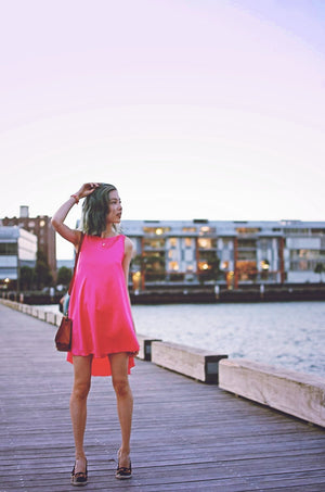 PINK SILK LOTUS MINI MULLET DRESS