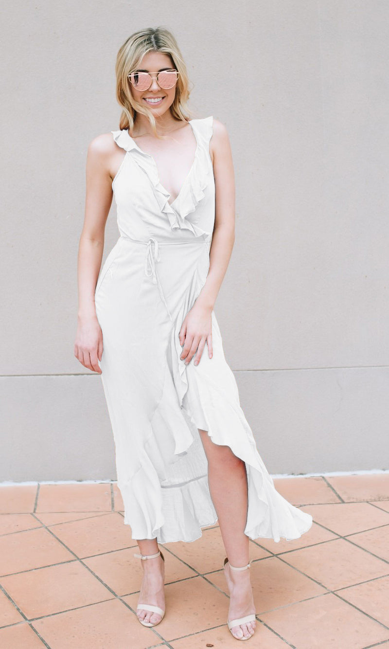 ALANA FLOWY MAXI WRAP DRESS - DRESS - Koogal.com.au