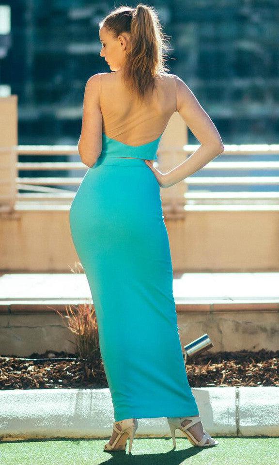 MINTY BLUE DRESS SET (top and skirt) - DRESS - Koogal.com.au