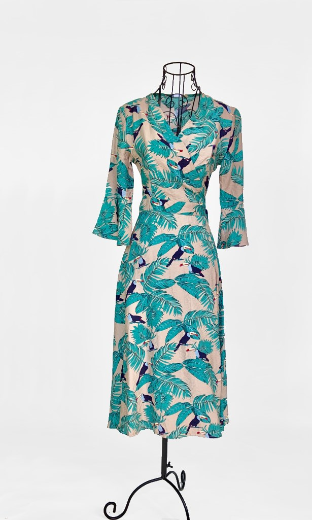 Kora Vintage Inspired Tropical Print Midi Wrap Dress - DRESS - Koogal.com.au