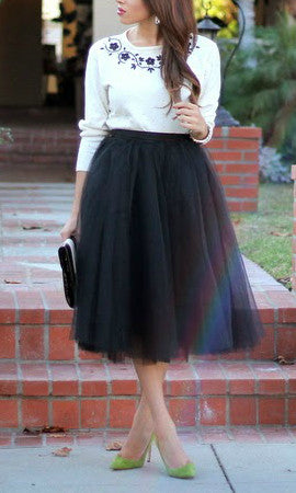 MOONRISE TULLE MIDI SKIRT in BLACK - BOTTOMS - Koogal.com.au