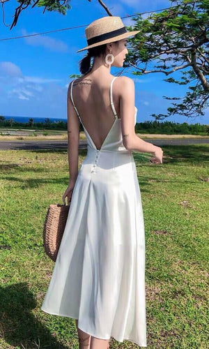 MARGARET SILK BACKLESS DRESS WITH PEARL BUTTON - DRESS - Koogal.com.au
