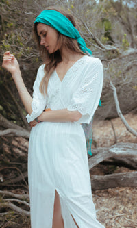 PURA BOHEMIAN MAXI DRESS WITH EYELET DETAIL IN WHITE - Koogal
