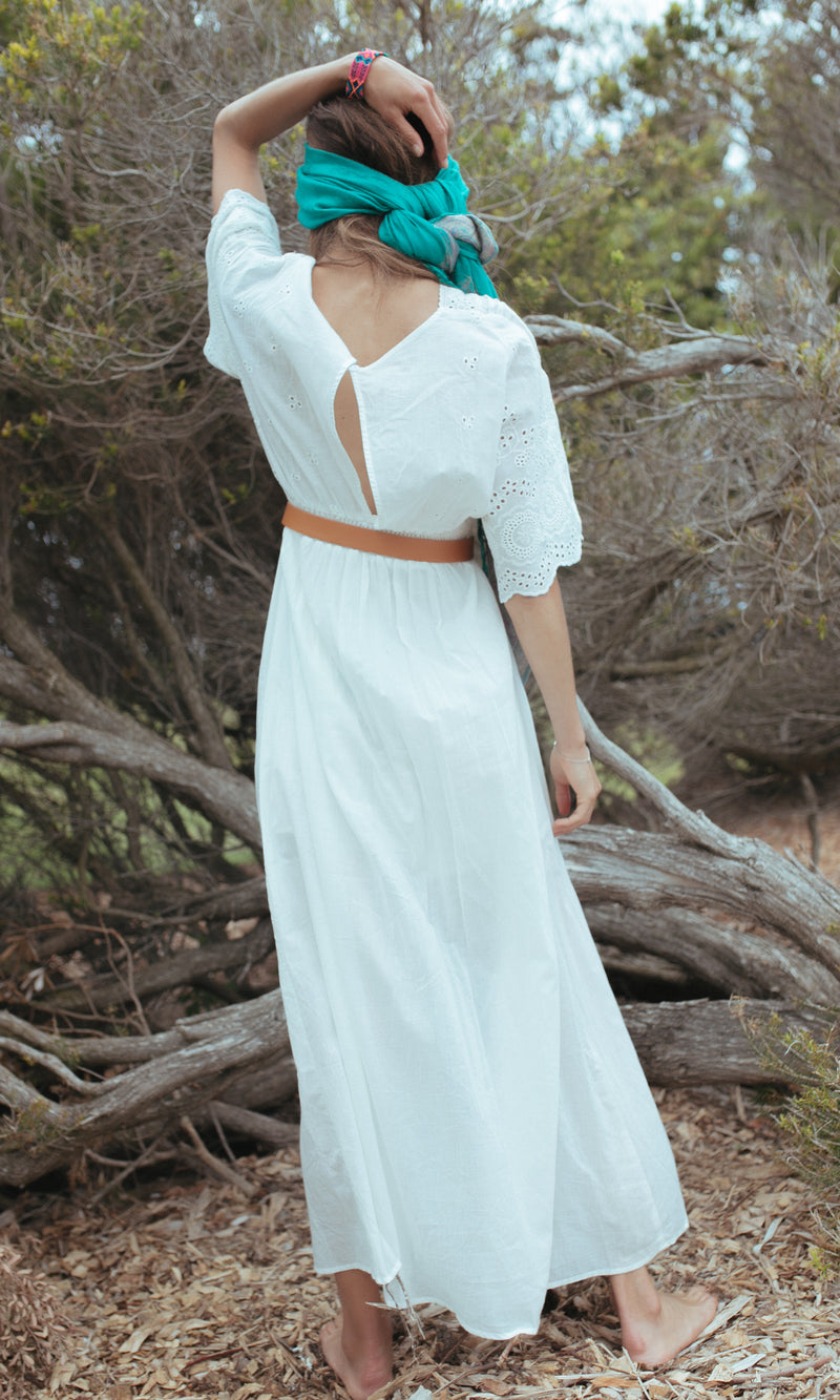 PURA BOHEMIAN MAXI DRESS WITH EYELET DETAIL IN WHITE - DRESS - Koogal.com.au