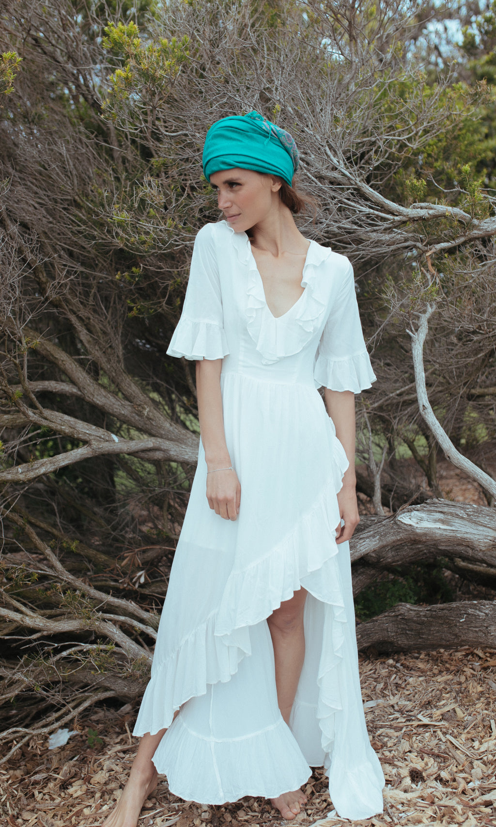 CLOVER BACKLESS MAXI BOHO BEACH DRESS in WHITE
