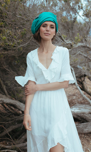 CLOVER BACKLESS MAXI BOHO BEACH DRESS in WHITE - DRESS - Koogal.com.au