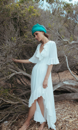 CLOVER BACKLESS MAXI BOHO BEACH DRESS in WHITE - Koogal