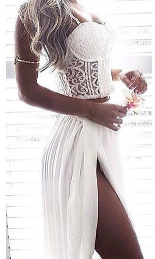 WHITE MOON PLEAT CHIFFON MAXI SKIRT in WHITE - BOTTOMS - Koogal.com.au