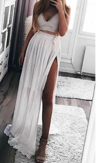 WHITE MOON PLEAT CHIFFON MAXI SKIRT in WHITE - Koogal