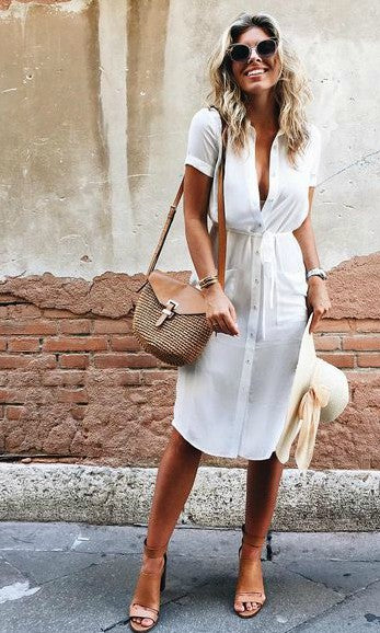 SUMMER MIDI DRESS in WHITE - DRESS - Koogal.com.au