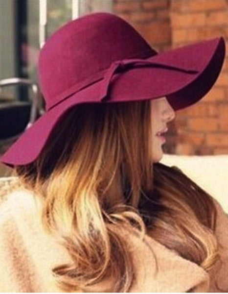 FLOPPY WIDE BRIM HAT in RED WINE
