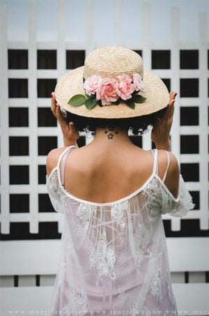 SUN FLOWER WIDE BRIM STRAW BOATER HAT - hat - Koogal.com.au