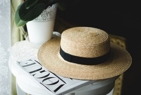 SUN FLOWER WIDE BRIM STRAW BOATER HAT - Koogal