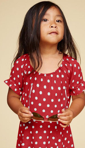 KID COLD SHOULDER POLKA DOT DRESS - DRESS - Koogal.com.au