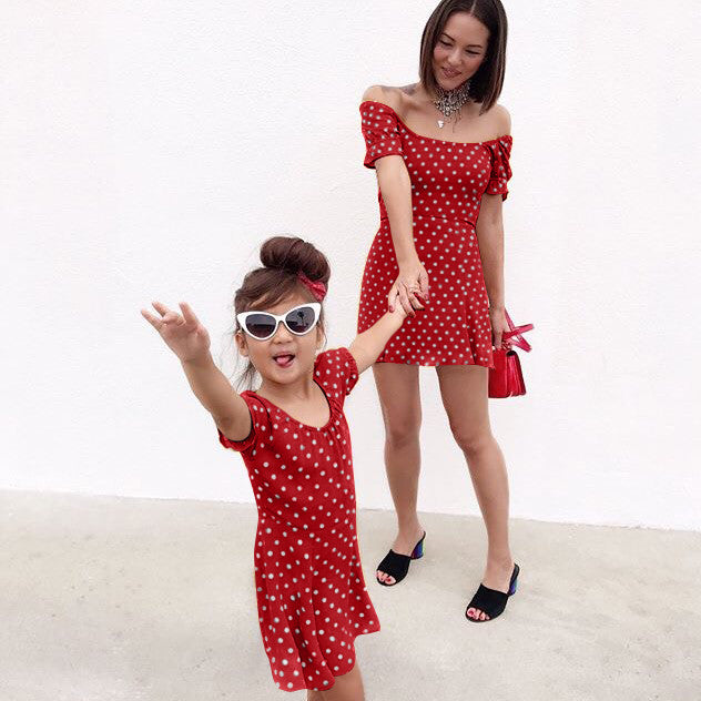 MAMA COLD SHOULDER POLKA DOT DRESS