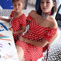 MAMA COLD SHOULDER POLKA DOT DRESS - DRESS - Koogal.com.au