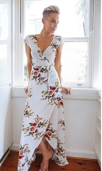 YESTERDAY FLORAL MAXI WRAP DRESS - DRESS - Koogal.com.au