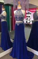 Sexy Two Piece Beaded Chiffon Prom Dress with See Through Bodice Custom Made Long Homecoming Dress PD114