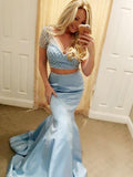 Custom Made Sexy Two Piece Beaded Satin Prom Dress Fashion Long Mermaid Homecoming Dress PD129