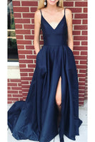 Simple V-Neck Satin Long Prom Dress Custom Made Sexy Side Slit Navy Evening Gowns PD256