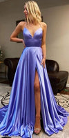 2020 Sexy High Side Slit Long Prom Dresses with Spaghetti Straps Fashion Long Satin Evening Gowns Custom Made Long School Dance Dress Women's Pagent Dresses PD992