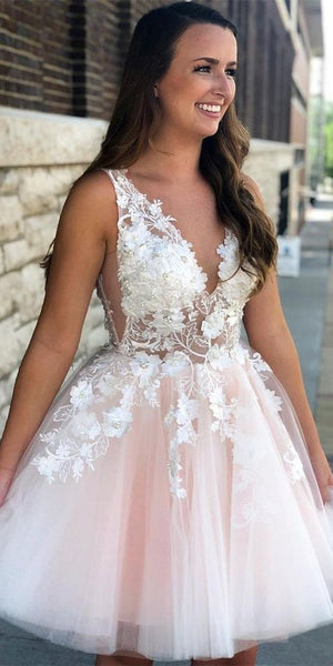 V-Neck Short Beaded Appliques Homecoming Dresses 2020, Custom Made Cute Cocktail Dress, Fashion Short School Dance Dresses, Sweet 16th Dresses, HD230