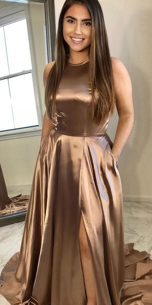 2020 Sexy High Side Slit Long Prom Dresses with Pockets Fashion Long Satin Evening Gowns Custom Made Long School Dance Dress Women's Pagent Dresses PD993