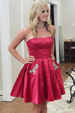2020 Short Strapless Homecoming Dress with Beadings Custom Made Cute Cocktail Dress Fashion Short School Dance Dresses Sweet 16th Dresses HD223