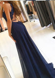 Sexy High Side Split Chiffon Prom Dress Backless Navy Lace Evening Dress PD084
