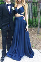 Sexy V-Neck Two Piece Prom Dress Custom Fashion Gratuation Party Dress PD092
