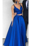 Fashion 2 Piece Royal Blue Chiffon Prom Dress Sweetheart Long Homecoming Dress PD098