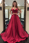 Custom 2 Piece Satin Prom Dress with Straps Sweetheart Long Graduation Party Dress PD099