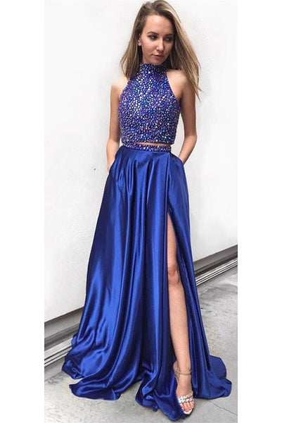 2 Pieces High Neck Beaded Prom Dress Sexy Side Split Graduation Party Dress PD093