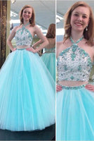 2 Pieces Halter Beaded Tulle Prom Dress Sexy Open Back A-Line Evening Dress PD064