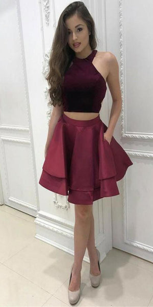 Custom Made Halter 2 Pieces Satin Homecoming Dress Short A-Line Two Piece Graduation Party Dress HD037
