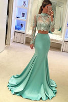 2 Pieces Appliques Long Prom Dress Custom Made Fashion Satin Mermaid Homecoming Dresses PD278