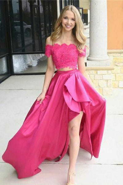 Cute Two Piece Appliques High-Low Prom Dress Custom Made 2 Pieces Graduation Party Dress PD176