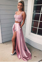 Sexy Pink Appliques 2 Pieces Prom Dress with Lace Up Back Custom Made Long Graduation Party Dress Fashion Satin School Dance Dresses PD451